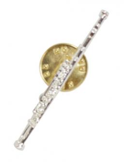 Pin Flauta Transversal Prateado 4cm