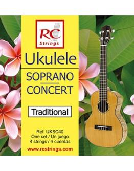 Jogo Cordas Ukulele Soprano | Concerto RC Strings UKSC40